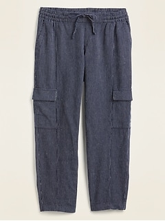 Mid-Rise Pinstriped Linen-Blend Cargo Pants for Women