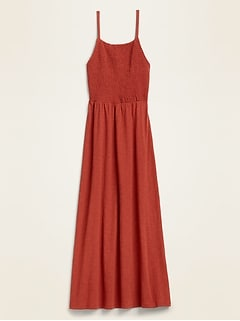 Smocked-Top Slub-Knit Maxi Sundress for Women