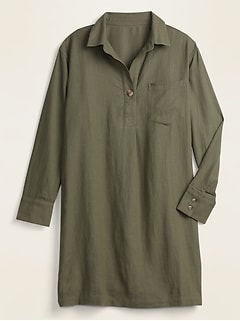 Linen-Blend Popover Shirt Dress for Women