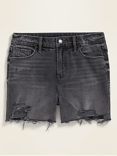 High-Waisted Distressed Gray Cut-Off Jean Shorts for Women -- 3.5-inch inseam