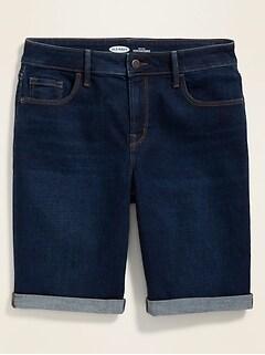 High-Waisted Roll-Cuffed Bermuda Jean Shorts for Women -- 9-inch inseam