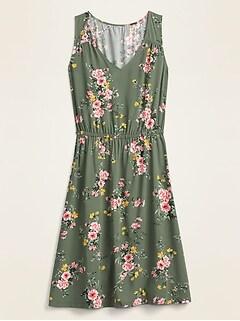 Sleeveless Waist-Defined V-Neck Dress for Women