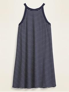 High-Neck Striped Rib-Knit Sleeveless Swing Dress for Women