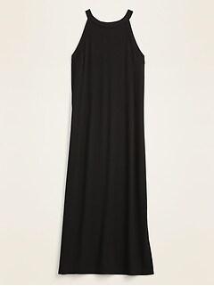 Fitted High-Neck Rib-Knit Sleeveless Midi Dress for Women
