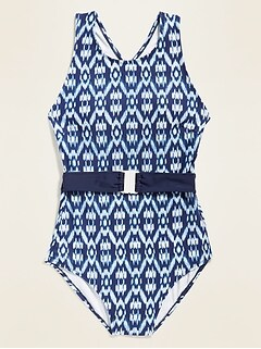 High-Neck Printed One-Piece Belted Swimsuit for Women