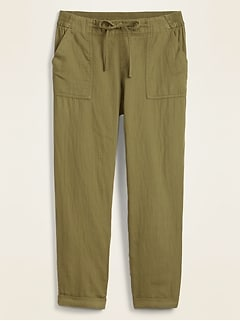 Mid-Rise Soft-Twill Utility Pants for Women