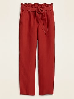 High-Waisted Tie-Belt Linen-Blend Straight-Leg Pants for Women
