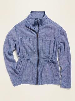 Linen-Blend Utility Zip Jacket for Women