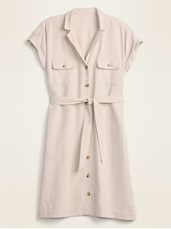 Linen-Blend Utility Tie-Belt Shirt Dress for Women