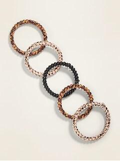 Skinny Beaded Spiral Hair Ties 5-Pack for Women