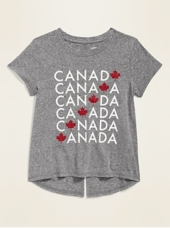 Canada-Graphic Split-Back Tee for Girls