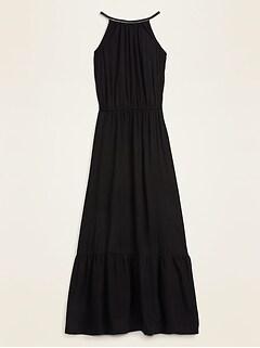 Waist-Defined Braided-Strap Maxi Sundress for Women