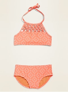 Bikini bain-de-soleil avec macramé pour fille