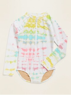 Zip-Front Long-Sleeve Rashguard Swimsuit for Girls