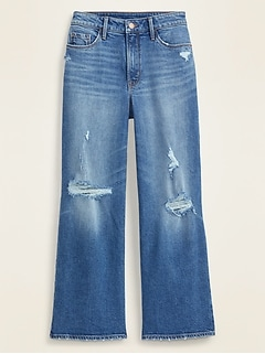 Extra High-Waisted Distressed Wide-Leg Crop Jeans for Women
