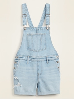 Distressed Light-Wash Jean Shortalls for Women -- 3-inch inseam