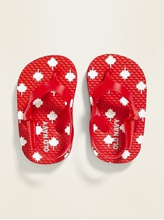 Canada Maple Leaf-Print Flip-Flops for Baby