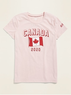 2020 Canada Flag Graphic Tee for Girls