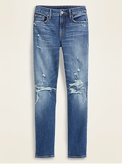 High-Waisted Distressed Power Slim Straight Ankle Jeans for Women