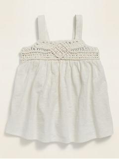 Braided-Yoke Sleeveless Jersey Top for Toddler Girls