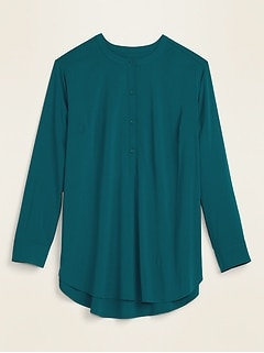 No-Peek Button-Front Plus-Size Popover Stretch Tunic