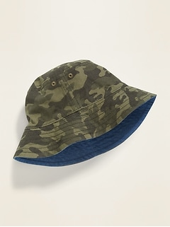 Reversible Canvas Bucket Hat for Toddler Boys