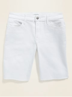 Mid-Rise White Cut-Off Bermuda Jean Shorts for Women -- 9-inch inseam