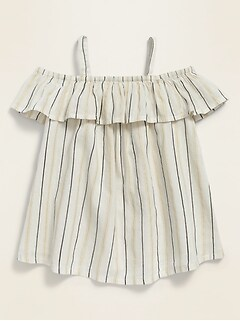 Off-the-Shoulder Metallic-Stripe Top for Toddler Girls