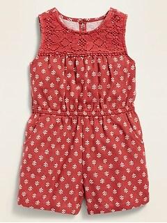 Sleeveless Crochet-Yoke Linen-Blend Romper for Toddler Girls