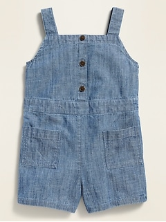 Sleeveless Chambray Utility Romper for Toddler Girls