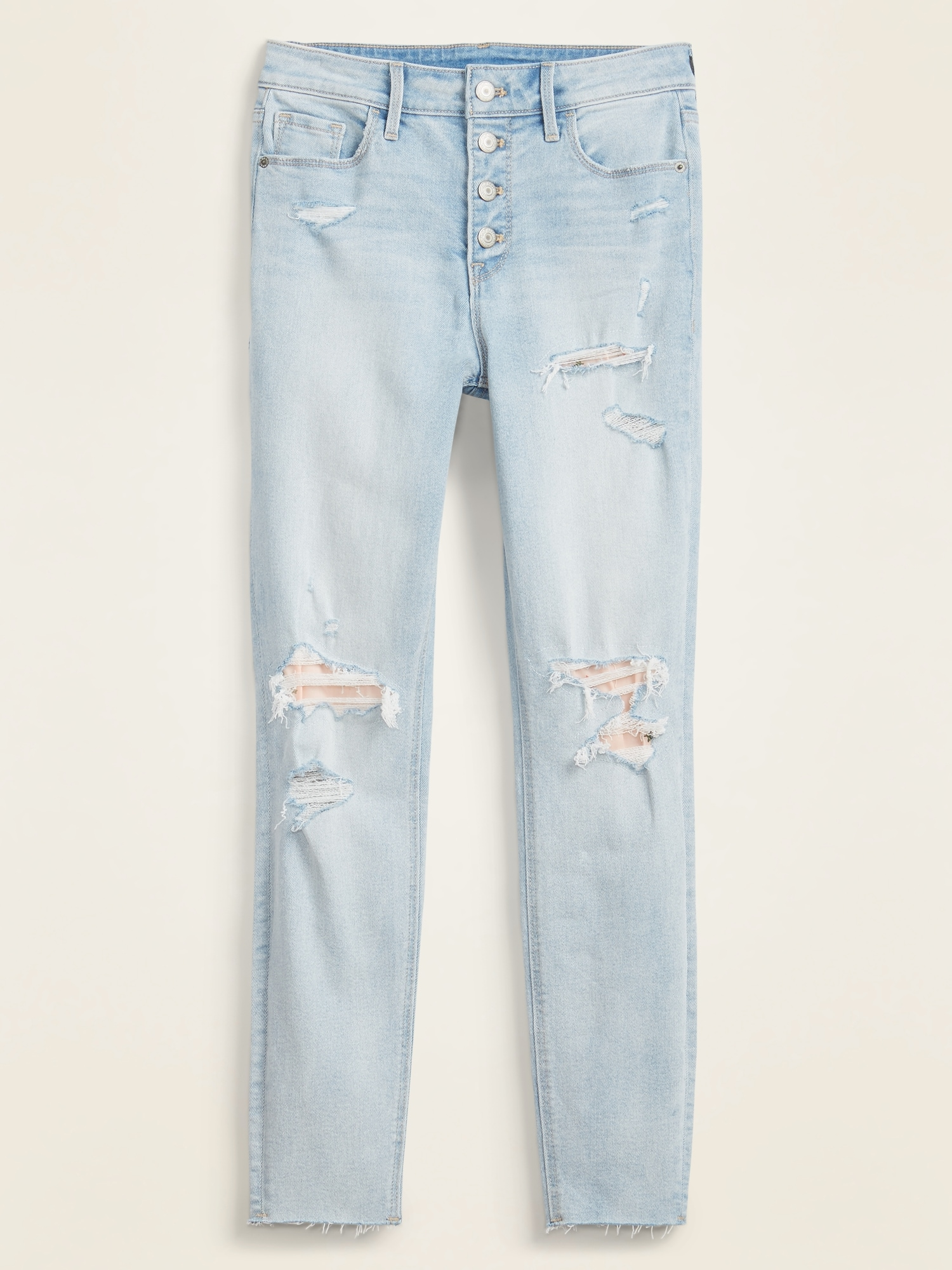 High Waisted Button Fly Rip Repair Rockstar Super Skinny Ankle Jeans For Women Old Navy