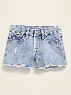 Distressed Light-Wash Jean Shorts for Girls