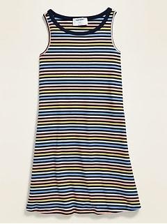 Sleeveless Rib-Knit Swing Dress for Girls