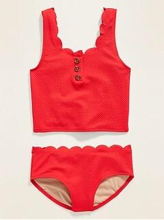 Scallop-Trim Tankini Swim Set for Girls