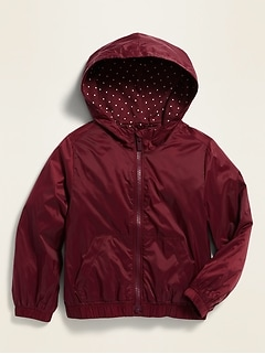 Water-Resistant Hooded Uniform Jacket for Toddler Girls