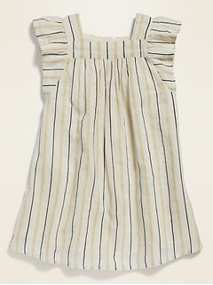 Metallic-Stripe Square-Neck A-Line Dress for Toddler Girls