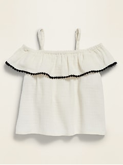 Off-the-Shoulder Ruffle-Trim Swing Top for Toddler Girls