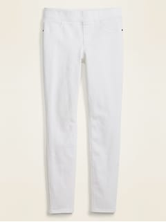 Mid-Rise Rockstar Super Skinny White Jeggings for Women