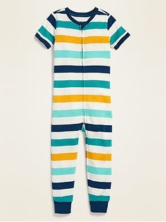 Printed Short-Sleeve Pajama One-Piece for Toddler & Baby