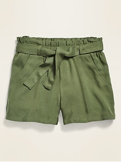 Paperbag-Waist Twill Shorts for Girls