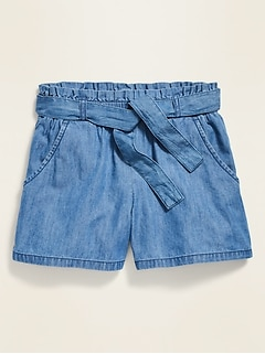 Paperbag-Waist Chambray Shorts for Girls