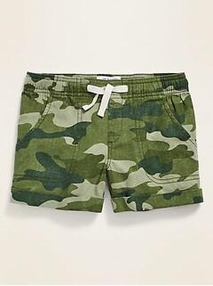 Functional Drawstring Linen-Blend Shorts for Girls