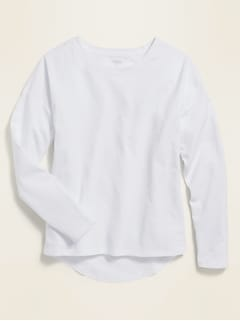 Softest Long-Sleeve Crew-Neck Tee for Girls