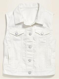Veste sans manches de camionneur en jean blanc pour fille