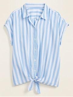 Striped No-Peek Tie-Hem Plus-Size Shirt