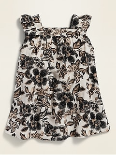 Printed Flutter-Sleeve A-Line Dress for Baby