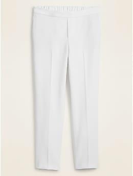 Pantalon droit à armure double longueur à la cheville et taille moyenne pour femme