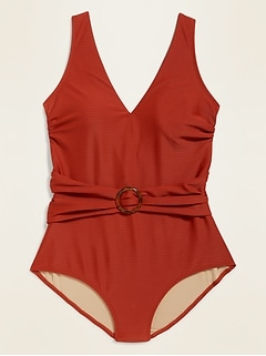 Textured Belted O-Ring Secret-Slim Plus-Size One-Piece Swimsuit