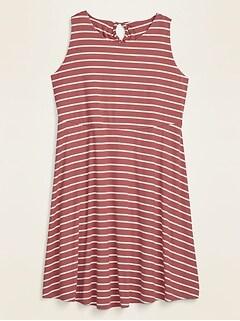 Striped Rib-Knit Waist-Defined Plus-Size Dress
