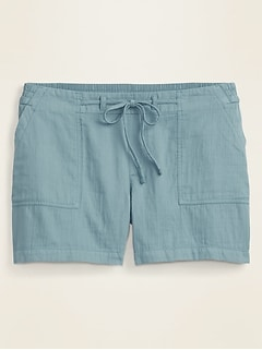 Mid-Rise Soft Twill Pull-On Plus-Size Shorts -- 5-inch inseam